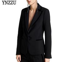 YNZZU Solid Black Women Blazer New Spring Long Sleeve Formal Jackets Brief Elegant Office Lady Coats Business Suit Female O508