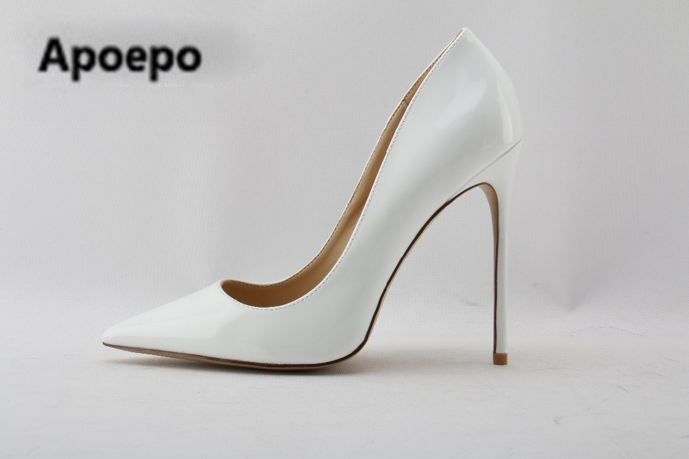 Apoepo brand White Patent Leather High Heel Shoes 2018 Pointed toe Woman Pumps Slip-on Stiletto Heels Thin heels Shoes 12cm/10cm newest patent leather high heel shoes sexy pointed toe woman pumps 2017 leopard printed stiletto heels thin heels dress shoes