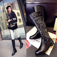 Embroidered Women Long Boots Stlyish Female Shoes Fashion Genuine Leather Rain Boots