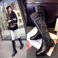 Вышитые Для женщин ботинки с высоким голенищем stlyish женский Обувь модные Пояса из натуральной кожи непромокаемые Сапоги и ботинки для девочек