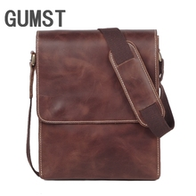 GUMST Retro Genuine Leather Cowhide Crazy Horse Shoulder Messenger Bag Crossbody iPad Briefcase Portfolio Sling Handbag handmade cowhide crazy horse genuine leather shoulder bag retro briefcase handbag for man men bussinss document case