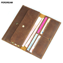 Mens leather wallet Europe and America crazy horse long mens phone bag