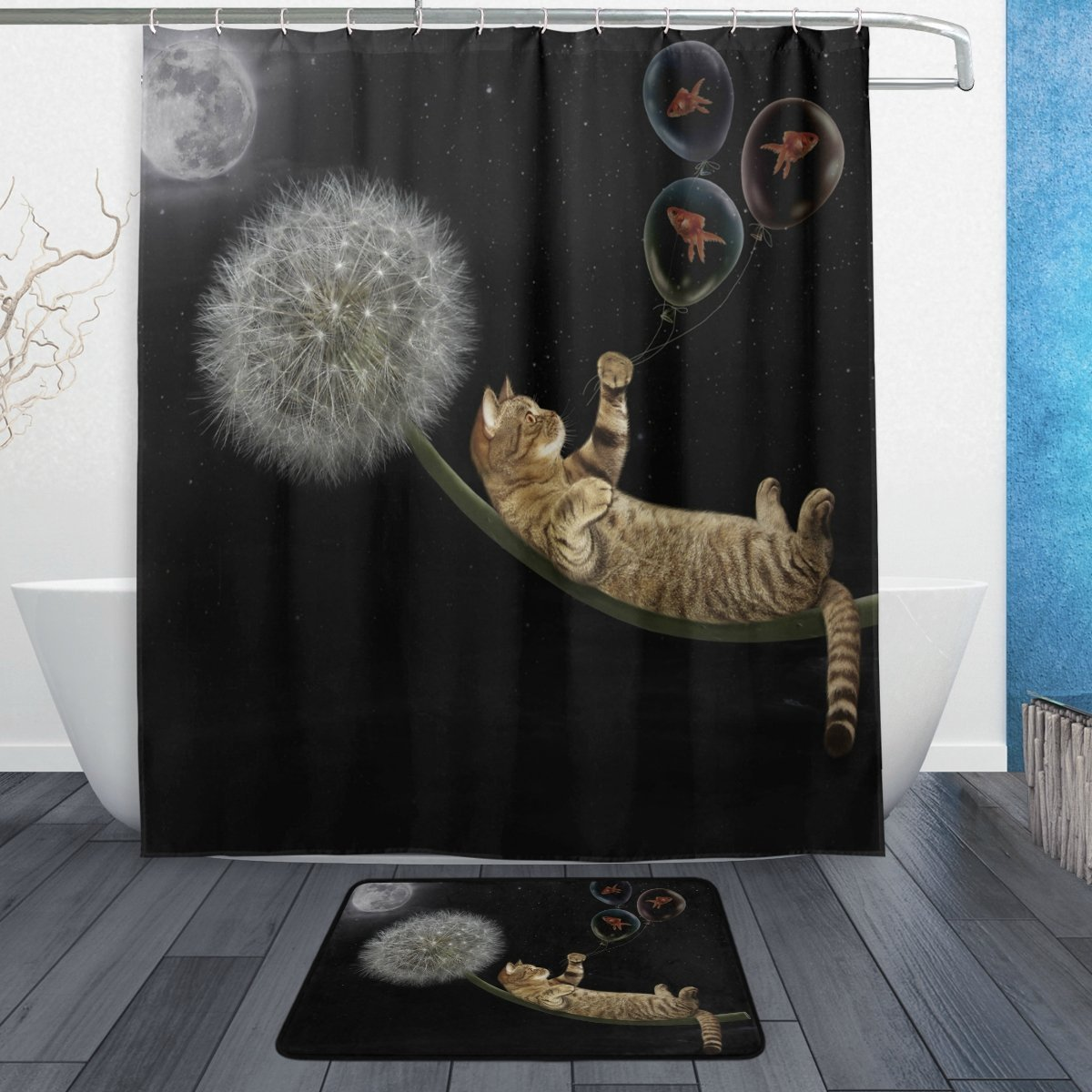 귀여운 동물 고양이 새끼 고양이 샤워 커튼과 매트 - 가정 용품