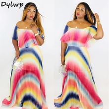 Women Gradient  Pleated Dress 2019 Summer Sexy Off Shoulder Maxi Ladies Chiffon Ruffles Tie Dye Print Long Party