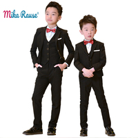 5PCS kids boys suits boy black Blazers formal wedding suits tuxedo teenage party clothes toddler baby clothing boy blazer