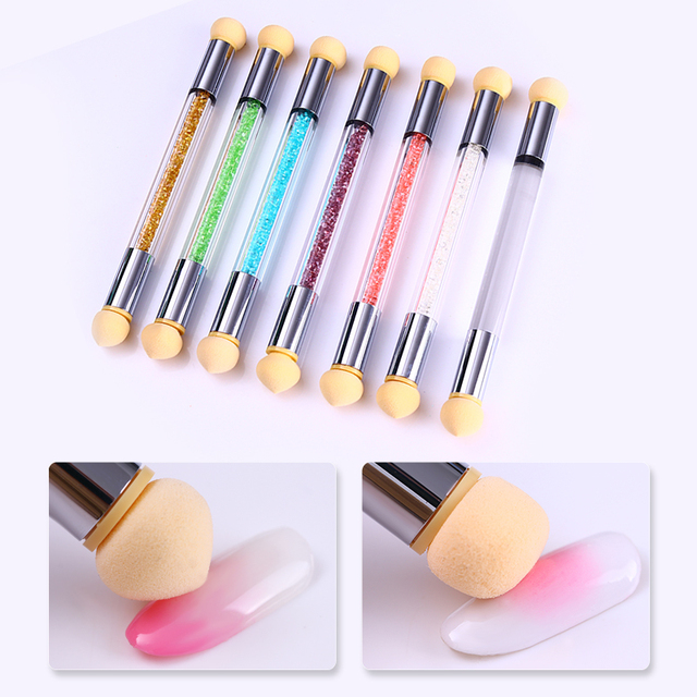 1Pc Double-ended Nail Art Sponge Gradient Brush Acrylic Gel Polish Gradual Color Transfer Rhinestone Pick Up Painting Draw Pen