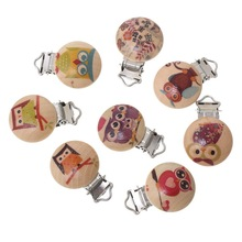 Wooden Baby Children Pacifier Holder Clip Infant Cute Round Nipple Clasps For Baby Product