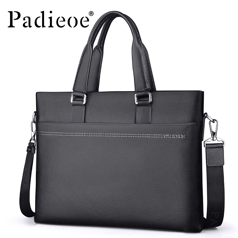 Padieoe Men's Genuine Leather Briefcase Famous Brand Business Cowhide Leather Men Messenger Bag Casual Handbags Shoulder Bags