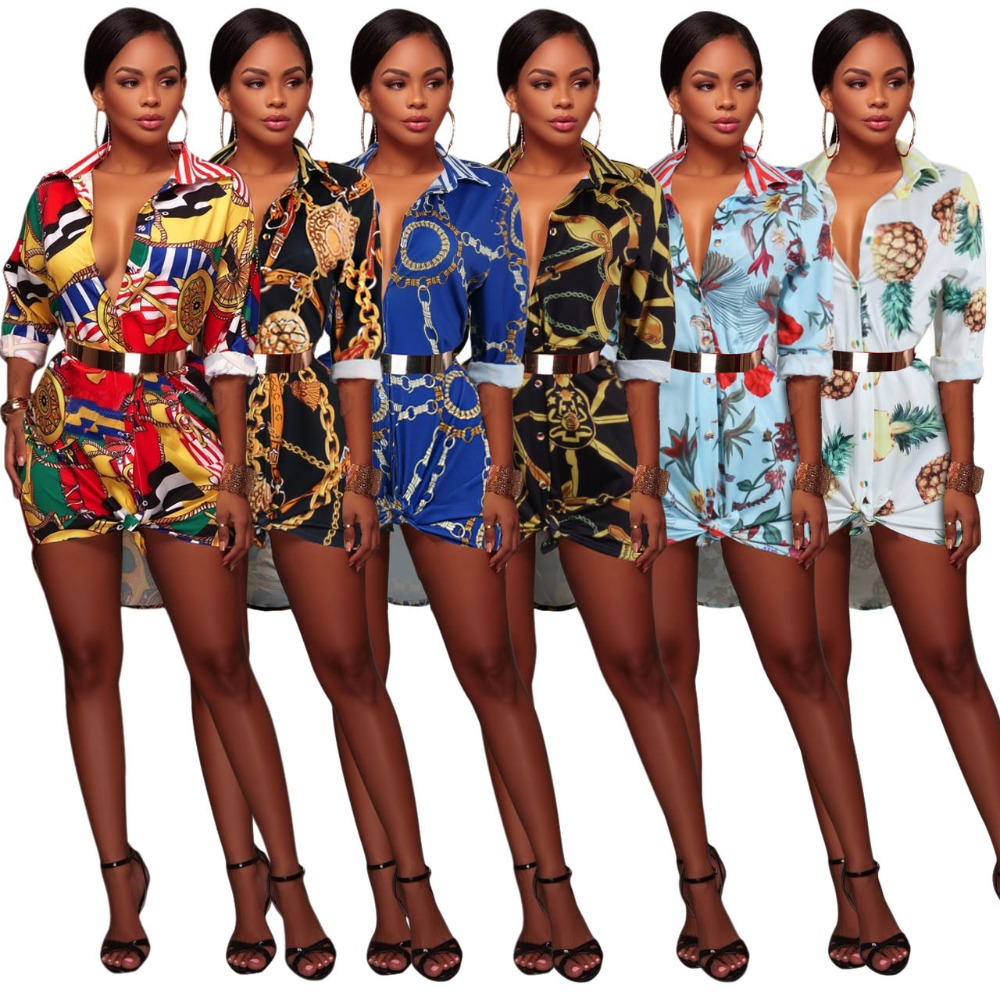 9eceb218 Long Sleeve Women T shirt Dress Floral Black Chain Printed Vintage Mini  Dress Autumn Fashion Party