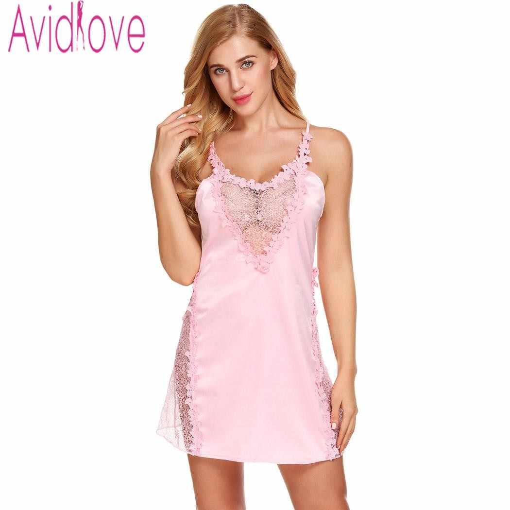 32c44c194c7 ... Avidlove Sexy Lace Satin Nightgown Beckless Nightdress Nighty Women Silk  Sleepwear Chemise Night Dress Plus Size ...