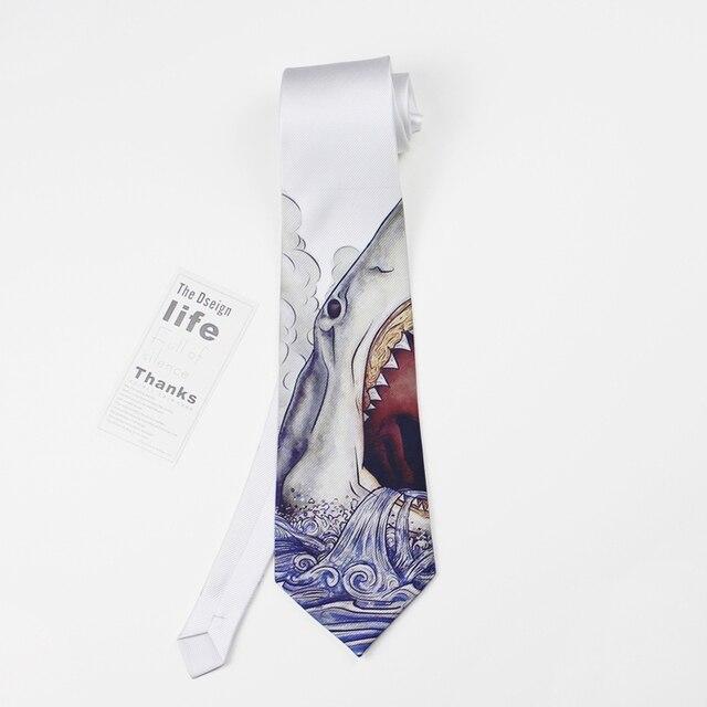 2016 распечатать жених шеи галстук женщины галстуки человек свадебная мода kravat мужской mariage дизайнер белая акула тонкий галстук