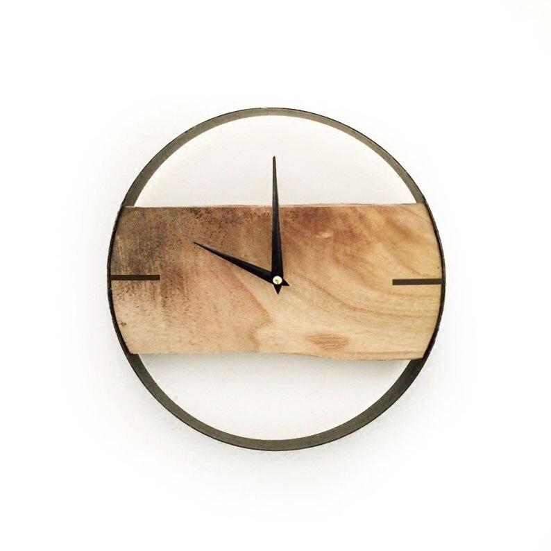 Mute Lod Natural Wooden Wall Clock Reloj De Pared Relogio De P Digital Wall Clock Living Meeting Room Decoration Saat Watches