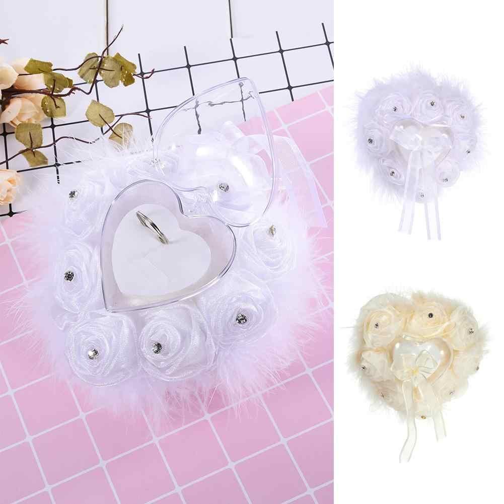 Kreatif Rose Bulu Burung Unta Jantung Kotak Cincin High-End Buatan Tangan Dekorasi Pernikahan Berbentuk Hati Cincin Bantal Kotak Hadiah