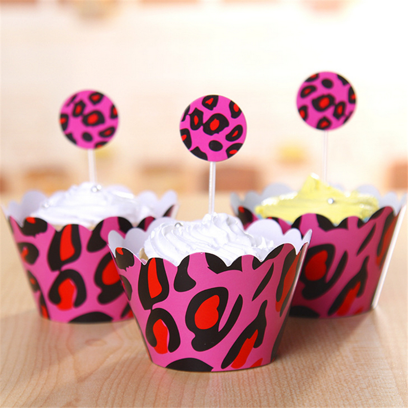 HEY FUNNY 24pcs pink leopard paper baby shower decorations, cupcake cake cup toppers picks wrappers party wedding supplies