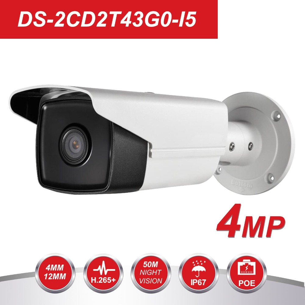 HIK New Video Surveillance Camera outdoor DS-2CD2T43G0-I5 4MP IR 50M Bullet POE IP Camera H.265+ Replace DS-2CD2T42WD-I5HIK New Video Surveillance Camera outdoor DS-2CD2T43G0-I5 4MP IR 50M Bullet POE IP Camera H.265+ Replace DS-2CD2T42WD-I5