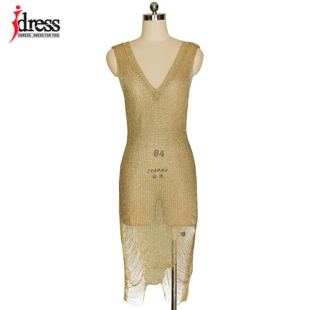 IDress 2017 Sexy Deep V Neck Hollow Out Golden String Knitting Summer Bodycon Women Dresses Sleeveless Mini Club Dress Vestidos (10)