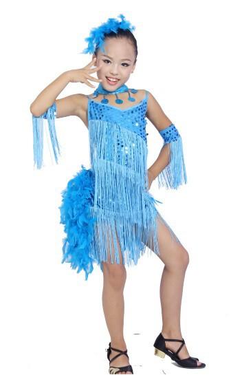 DB23553 fringe feather sequin latin dance dress-5