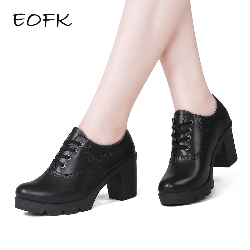 EOFK Women Derby Shoes Plush Square Heel Brogue Shoes Leather High Heels Wedge Shoes Woman Female