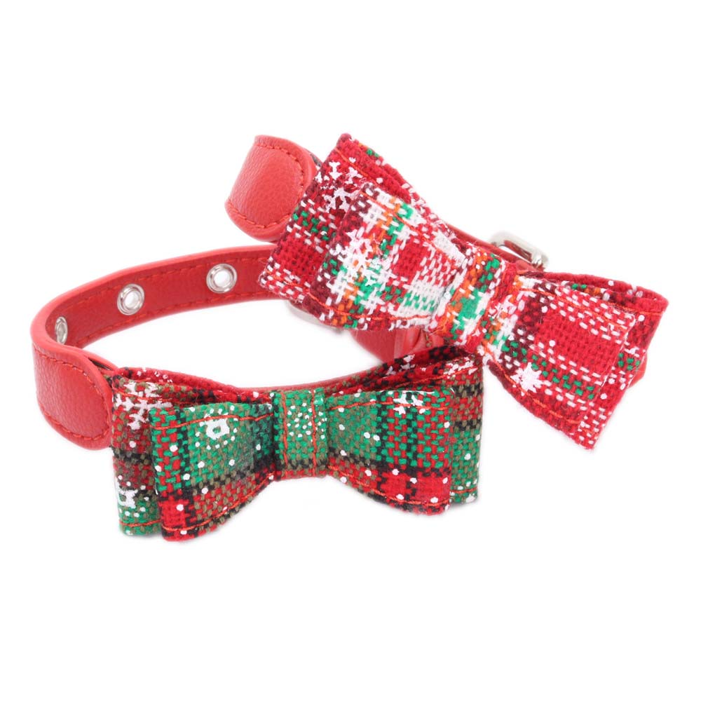 christmas cats collars green and red bowknot adjustable collar necklace for cat pet products accessories collar gato mascotas in cat collars leads from