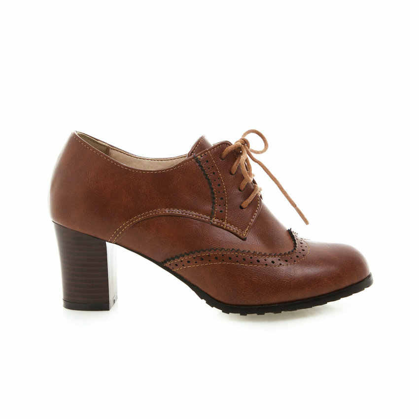 QUTAA 2019 Rahat Kalın Yüksek Topuk Retro Yuvarlak Ayak Lace Up Kadın yarım çizmeler İlkbahar Sonbahar Rahat tek ayakkabı Boyutu 34- 43