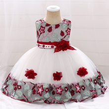 Christening 1 Year Baby Girls Printed Flower Newborn Dresses Infant Kids Party Princess Tutu For Girls 1st birthday Dresses(China)