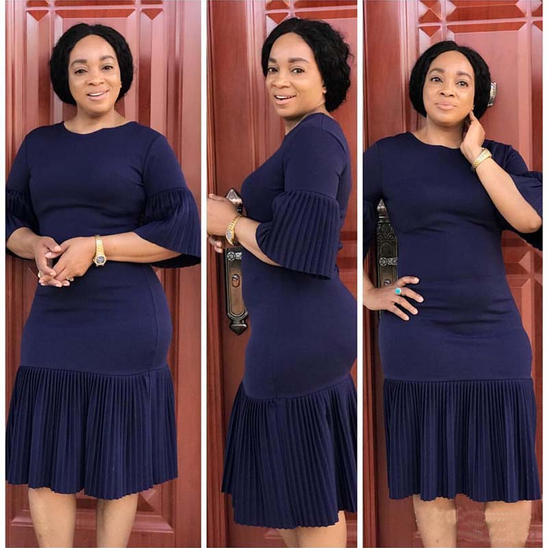 Africa Clothing Women Solid Color Pleated Stitching Commuter Dress High Quality Flare Sleeve Ruffles O-Neck Dress Elegant Party