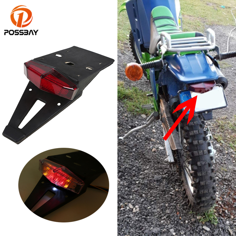 POSSBAY Motorcycle Tail Light Bike Red Rear Fender Taillight LED Brake Stop Lights For CRF KTM EXC WRF 250 400 426 450