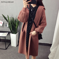 INITIALDREAM Autumn Winter Fashion Women Long Sleeve Loose Knitting Cardigan Sweater Solid Casual Hooded Cardigan