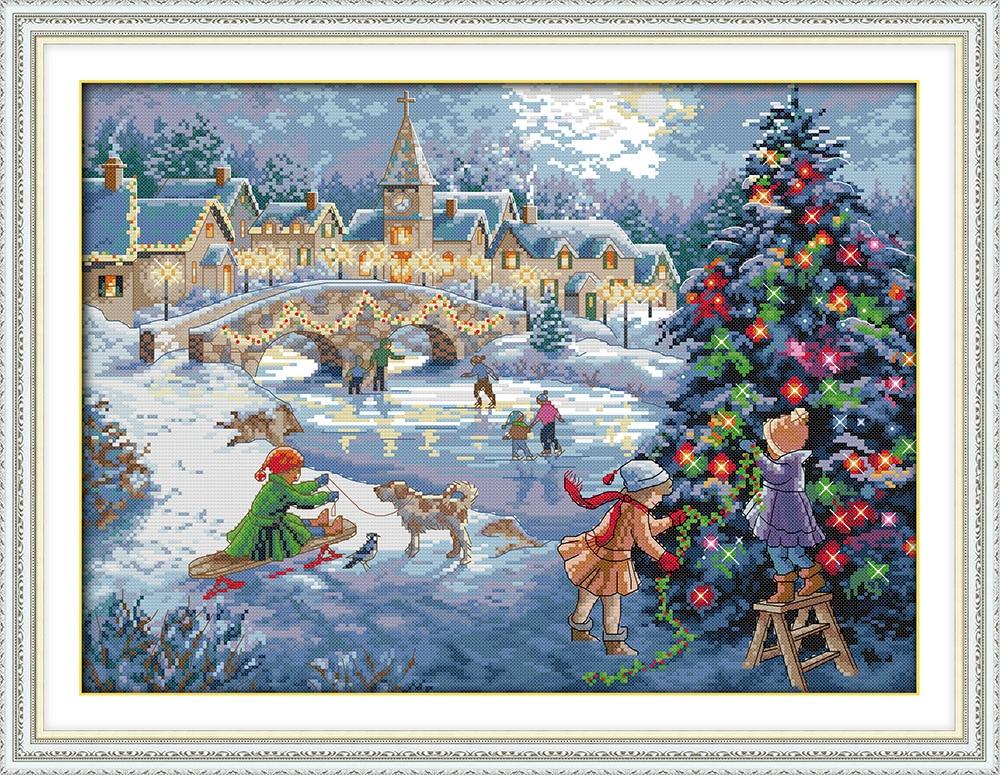 크리스마스 축하 눈 속에서 인쇄 된 캔버스 DMC 십자가 스티치 키트 계산 크로스 스티치 세트 자 수 바느질