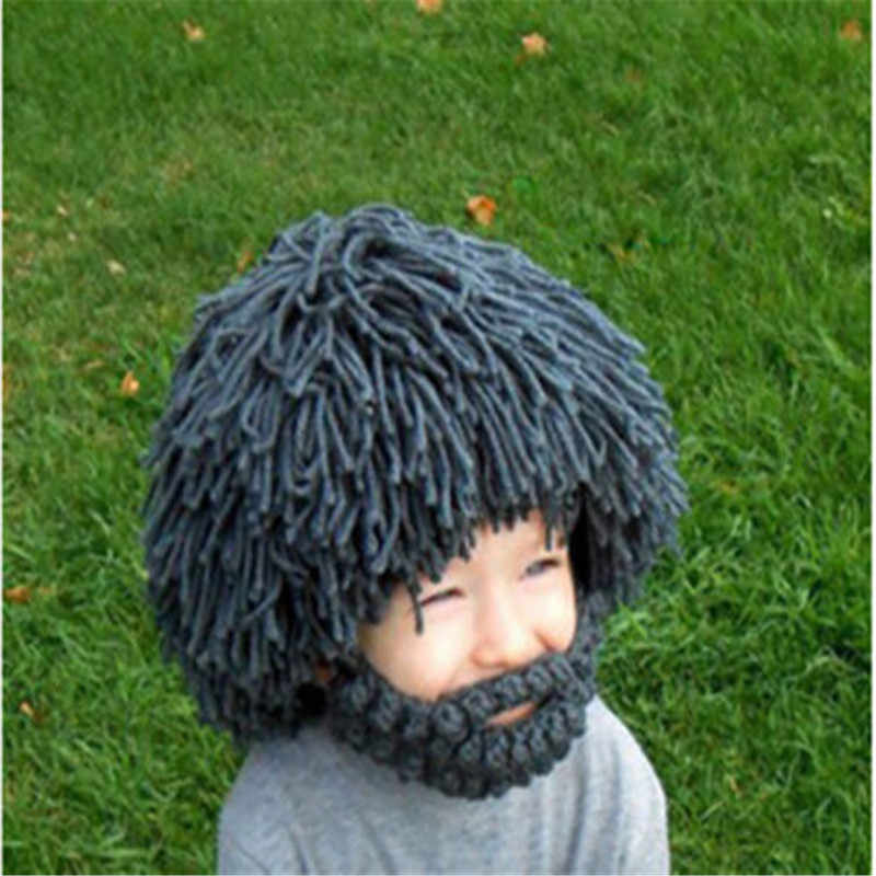 dd406445114 Wig Beard Hats Hobo Mad Scientist Rasta Caveman Handmade Knit Warm Winter  Caps Men Women Halloween