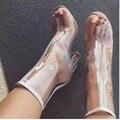 Women pumps fashion Transparent peep toe high heels shoes woman party wedding dress OL ladies Transparent thick heels shoes