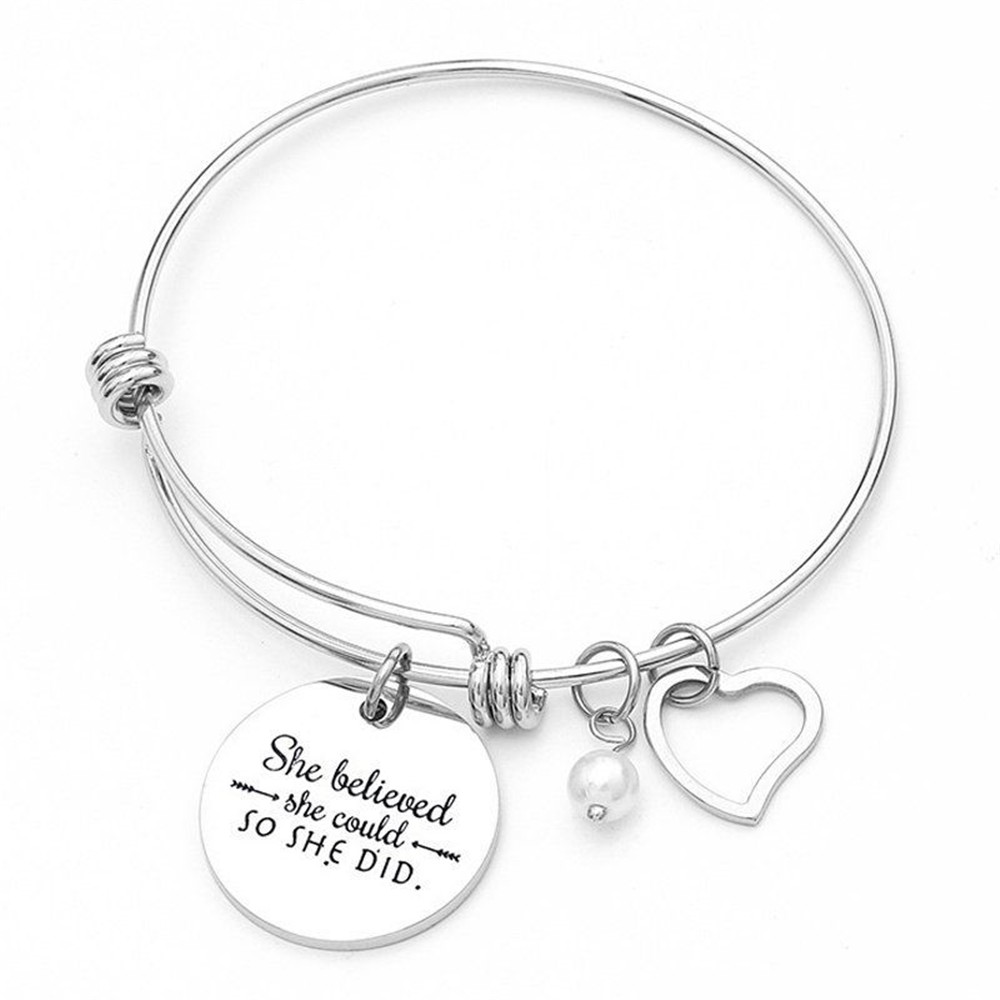 Women Charm Stainless Steel Pearl Heart Round Bangle Bracelet Adjustable Gift Lovers Bracelet Jewelry