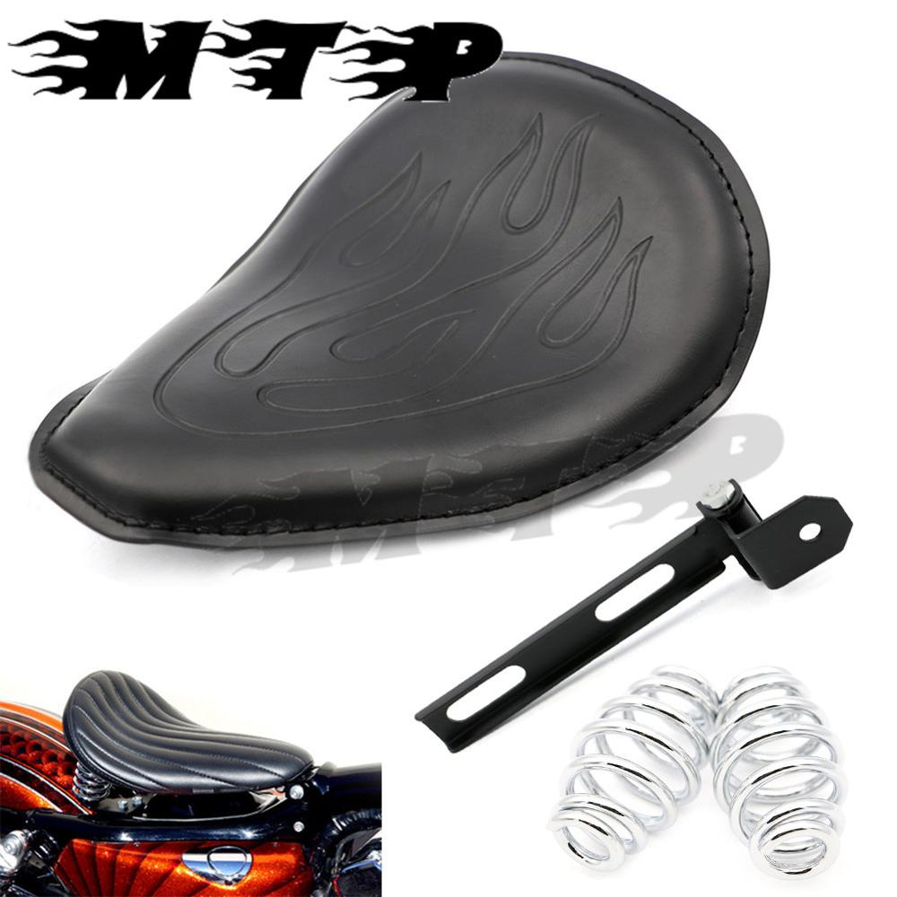 Motorcycle Flame Solo Seat  W/ Mounting Bracket Springs Kit for Kawasaki Vulcan 500 750 800 900 1000 Cruiser Bobber Old School old school motorcycle gauges