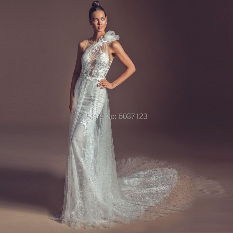 One Shoulder Tulle Mermaid Wedding Dresses Lace Appliques Backless Vestido De Novias Longo Marriage Bridal Wedding Gown