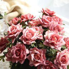 7gab / komplekts Rozes ziedu pušķis kāzu rotājumi Taizemes karaliskā rožu pušķi mākslīgie ziedi Faux zīda ziedu rozes mājas dekors