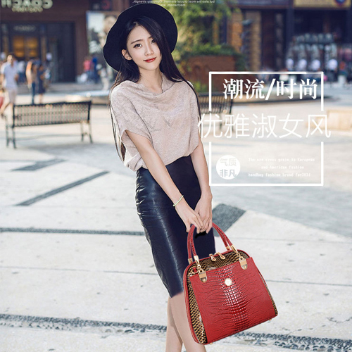 ФОТО European Style Top Grade Women Handbag Fashion Alligator Pattern Lady Synthetic Leather Messenger Bag Double Zippers Female Bags