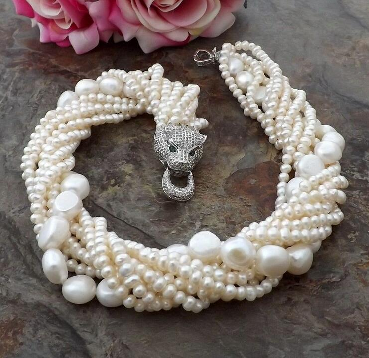 beautiful 8row white Pearl Necklace Cz Pave Leopard head Claspbeautiful 8row white Pearl Necklace Cz Pave Leopard head Clasp