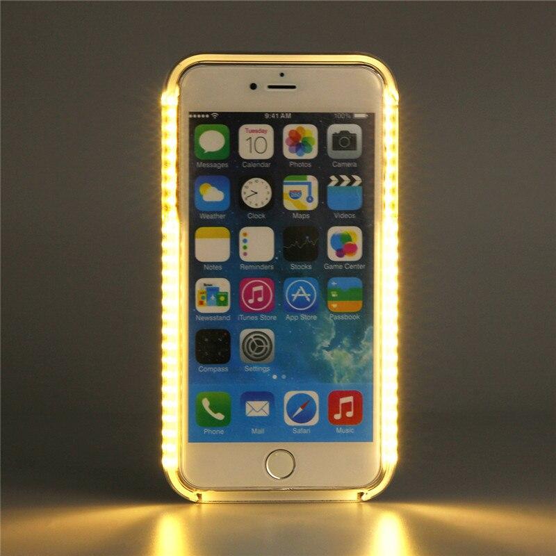 imágenes para El más nuevo de La Manera LLEVÓ la Iluminación Autofoto Coque Caso Para el iphone 6 plus 6 S plus Cubierta de la Venta Caliente luz de relleno Duro Teléfono Celular Shell