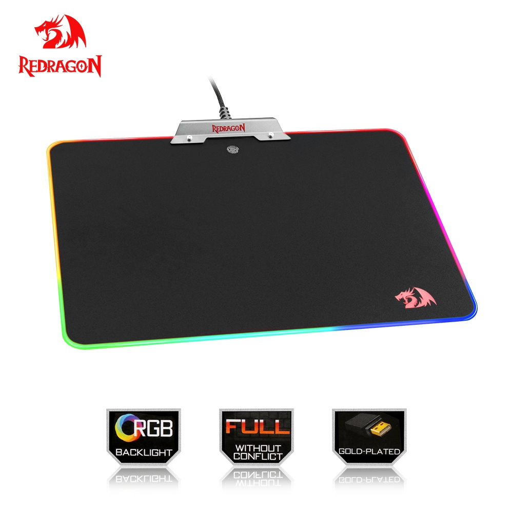 Redragon RGB USB Mousepad Colorful LED Lighting Black Gaming Mouse pad Mat for Computer Laptop Notebook