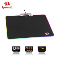 Redragon RGB USB Mousepad Colorful LED Lighting Black Gaming Mouse pad Mat for Computer Laptop Notebook for GO LOL Dota CS Game