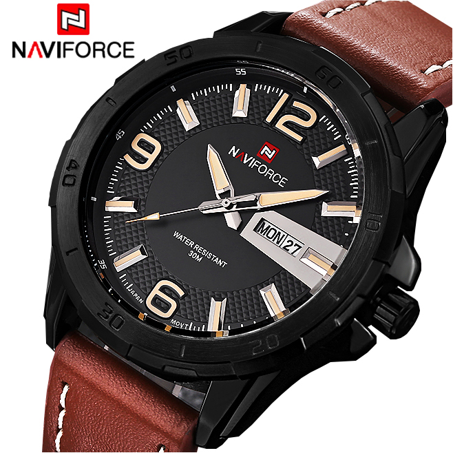 2016 Luxury Brand Naviforce Men Watch Leather Strap Analog Men's Quartz Date Clock Casual Sport Watches Man Military Wrist Watch xinge top brand luxury leather strap military watches male sport clock business 2017 quartz men fashion wrist watches xg1080