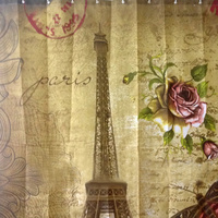 1Pcs Vintage Paris Eiffel Tower Butterfly Bathroom Curtains Moldproof Waterproof Shower Curtain With 12 Hooks Toliet Decoration