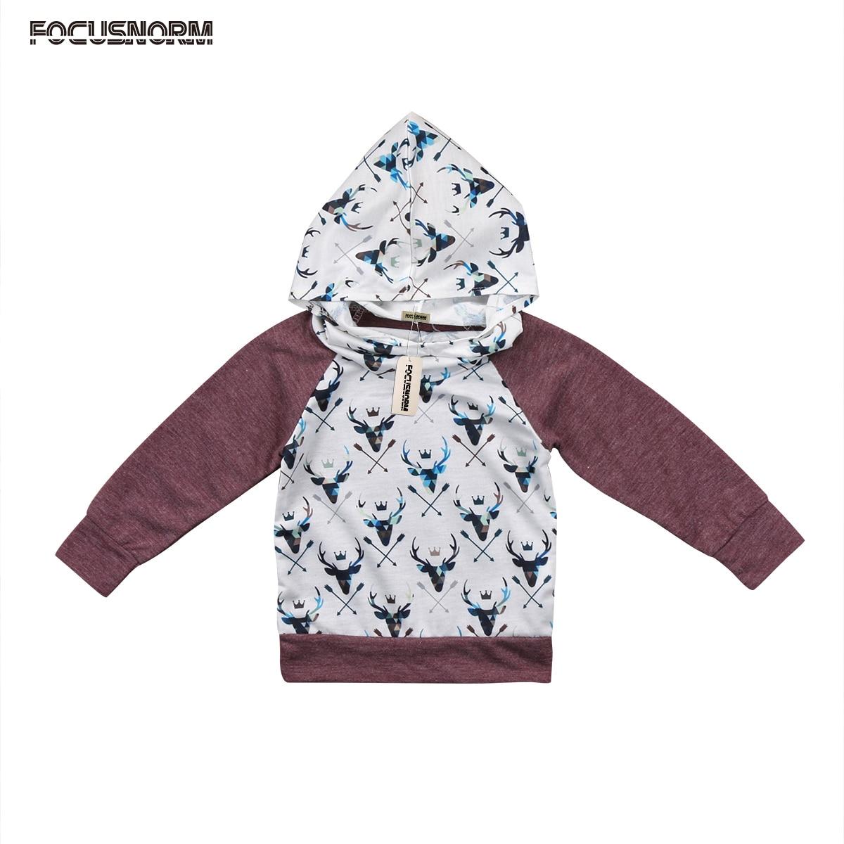 Toddler Kids Baby Girls Boys Deer Long Sleeves Hoodies Hooded Sweatshirt Top Outerwear Clothes