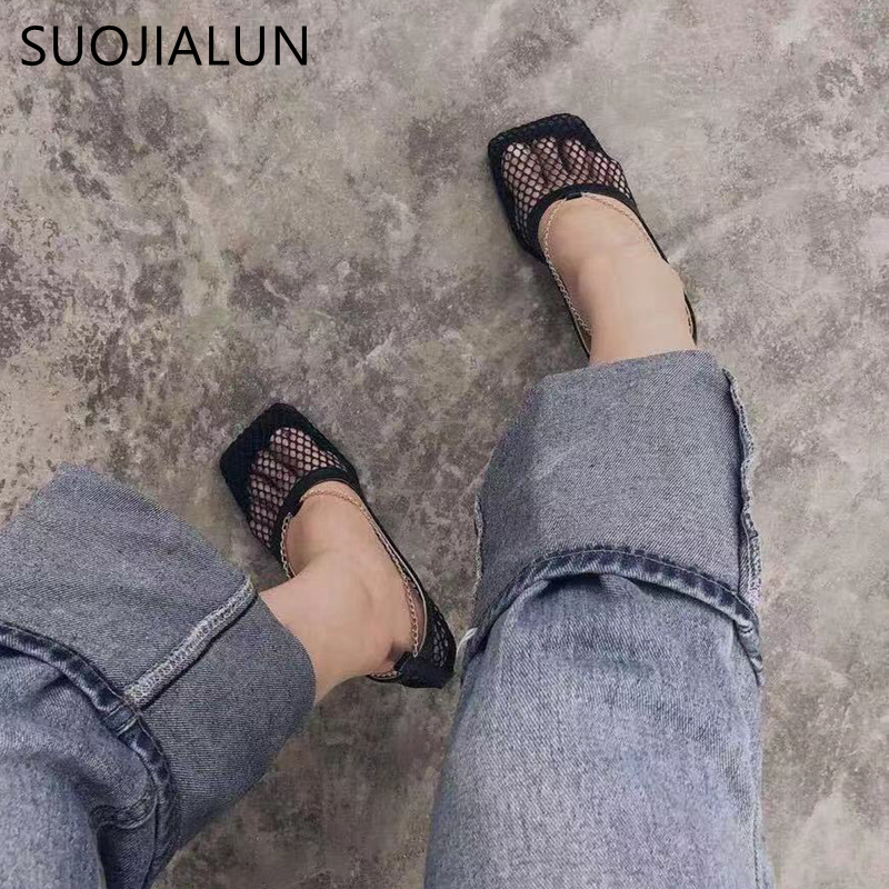 SUOJIALUN 2019 Fashion Brand Women Pumps Sexy Hollow Mesh Summer Sandal High Heels Woman Party Shoes Square Toe Ladies Dress Sho in Women 39 s Pumps from Shoes