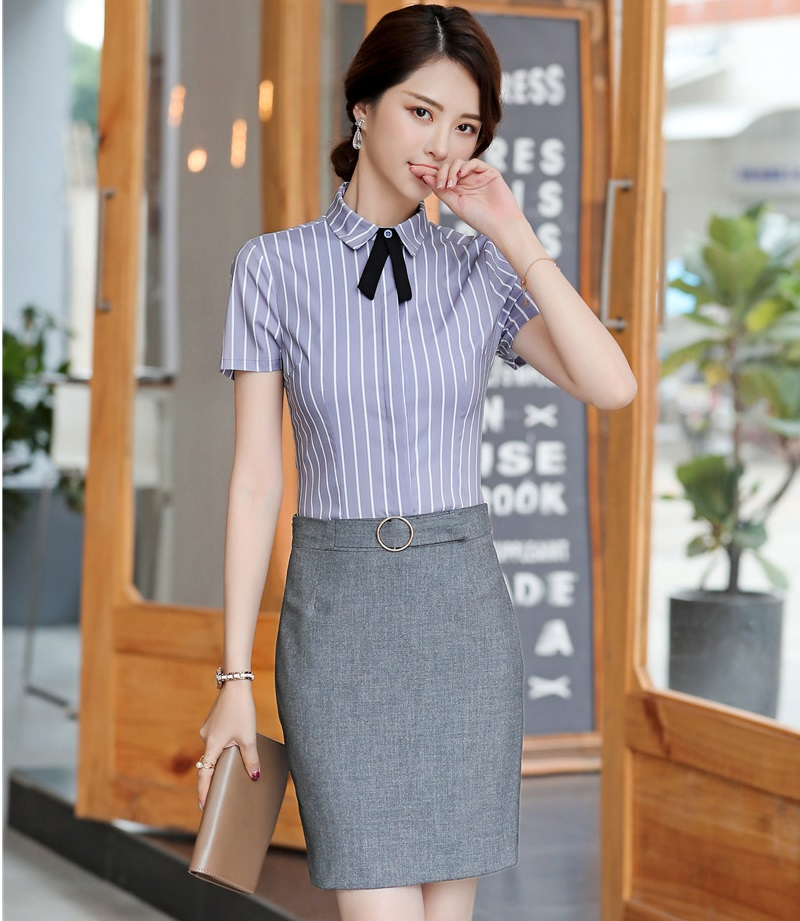 2019 Summer Short Sleeve With Skirt And Blouses Business Women Work Wear Suits OL Styles Office Clothing Sets Fashion Striped