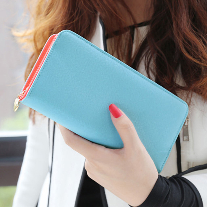 Promotion Multifunction Wristlet Wallets Women Elegant Red Color PU Leather Lady Purse Phone bag passport holder