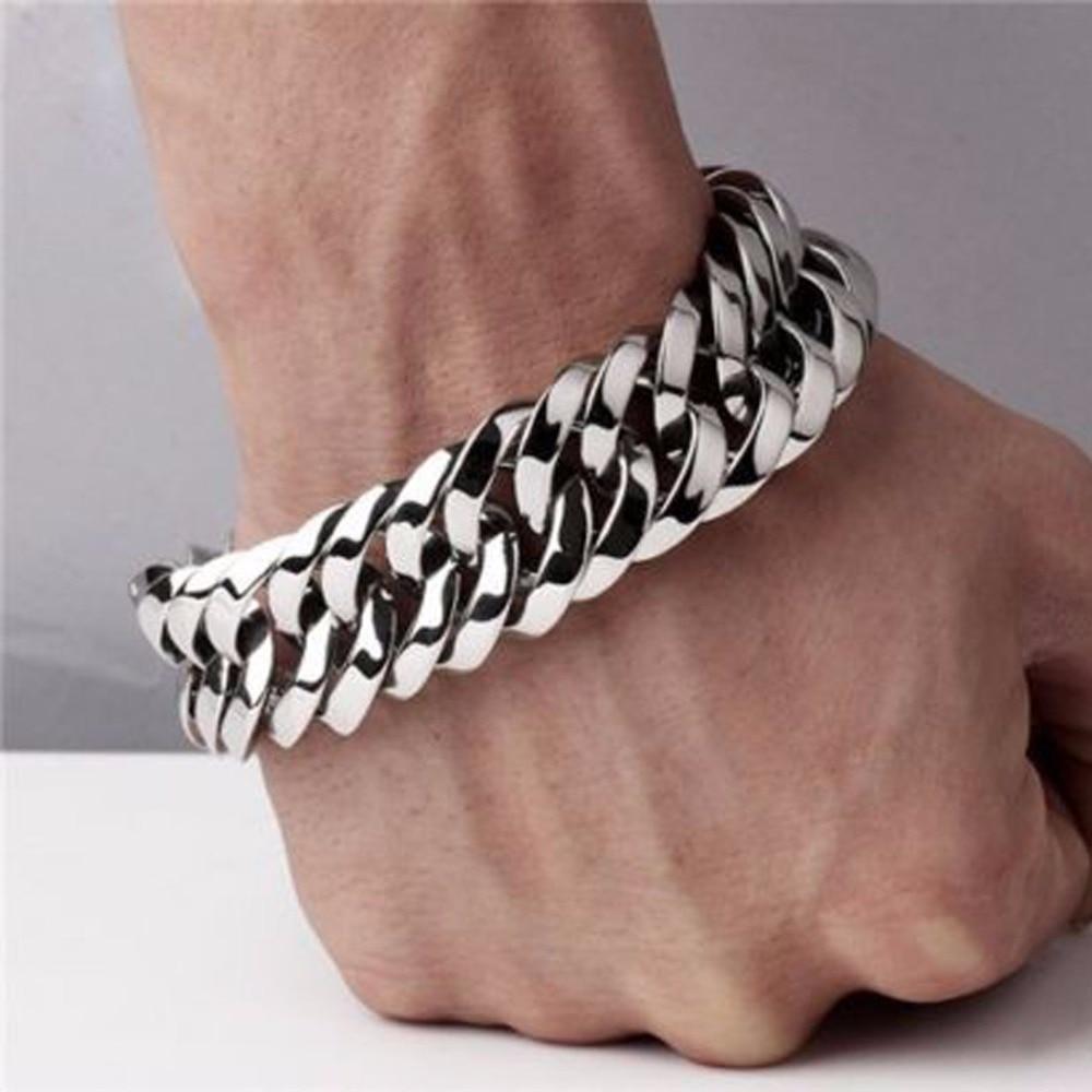 Fashion New Link Chain Stainless Steel Bracelet Men Heavy 20mm / 30mm Wide Men's Bracelets Double Curb Chain Wristband