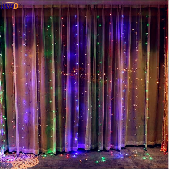 IWHD 3x1.5M Garland LED Cristmas Lights Outdoor New Year Christmas Decorations For Home Navidad LED Curtain String Lights