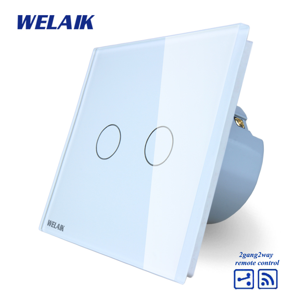 WELAIK Crystal Glass Panel Switch White Wall Switch EU Touch Switch Screen Wall Light Switch 2gang2way AC110~250V A1924CW/B smart home us au wall touch switch white crystal glass panel 1 gang 1 way power light wall touch switch used for led waterproof