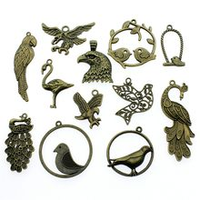 50%OFF(10 pcs or more) Antique Bronze Color Birds Peacock Charm Pendants For Jewelry Making Eagle Charms Jewelry Accessories(China)